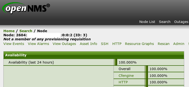screen shot of Opennms reporting CFEngine availability